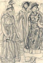 Boris GRIGORIEV. Four Female Figures. 1916