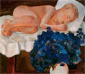 Sleeping Child with Cornflowers. 1932