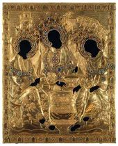 "Cover of the icon of ""The Holy Trinity"" by Andrei Rublev"