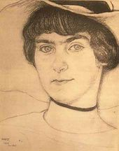 Léon BAKST. Portrait of Maroussia Kliatchko, displayed at the 1916 exhibition in New York