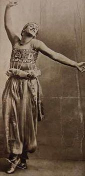 "Vaslav Nijinsky in the production of the ballet ""Scheherazade"" during Serge Diaghilev's company 's tour in New York. 1916"