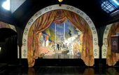 Scenery for the Evergreen Theatre. Theatre stage set designed by Léon Bakst. 1923
