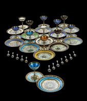 A Russian dinner service Silver-gilt, enamel, 11th Artel. Moscow, 1908-1917