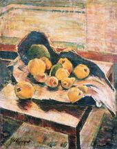 Nikolai ZAGREKOV. Fruit on a Table in a Torn Paper Bag. 1949
