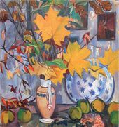Natalya GONCHAROVA. Autumn Bouquet (Quince and Maple Leaves). 1906