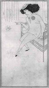 Aubrey BEARDSLEY. Caricature of J.M. Whistler, c.1893-1894