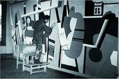 Gorky at work on Activities on the Field, his mural for the Newark Airport Administration Building. 1936