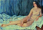 Lot 70. Zinaida Evgenievna SEREBRIAKOVA (Russian, 1884-1967). Portrait of Vera Fokine. Signed in Cyrillic (lower right)