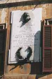 Rome. Memorial tablet to Nikolai Gogol at No.125–126 Via Sistina