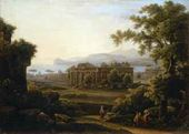 Italian Landscape with Ruins of Three Antique Temples. 1816