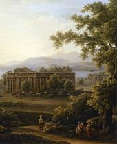 Italian Landscape with Ruins of Three Antique Temples. 1816. Detail