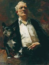 Self-portrait with the Dog Vatrushka. 1943