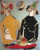 Sante MONACHESI. Clownesses with Butterflies. 1966