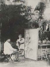 Valentin Serov painting the portrait of Olga Tomara. Photograph. 1892