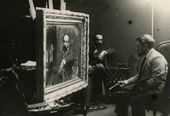 Valentin Serov painting the portrait of Isaak Levitan. 1893 (?).
