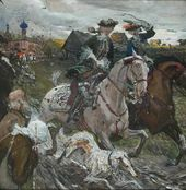 Peter II and Princess Elizabeth Hunting with Hounds. 1900.