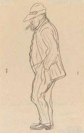 """""""Dull Serov"""". A self-caricature. 1910–1911."""