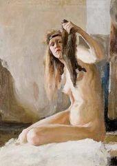 Semyon Nikiforov. A Female Model. Valentin Serov's Studio. 1900.