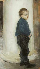 Semyon Nikiforov. A Boy by a Column. Valentin Serov's Studio. 1903