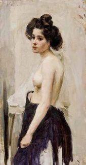 Semyon Nikiforov. Semi-nude Female Model. Valentin Serov's Studio. 1900.