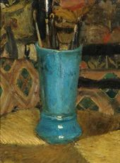 VALENTIN SEROV. Blue Vase with Brushes. 1875.