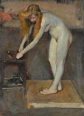 Nikolai Ulyanov. Nude Female Model in Serov's Studio. 1902