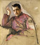 Valentin SEROV. Portrait of Sergei Diaghilev. 1904 (unfinished)