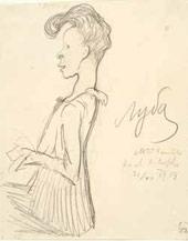 Valentin Serov. Lyubov Gritsenko-Bakst. Caricature. 1904