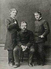(From left): Mikhail Vrubel, Vladimir von Derviz, Valentin Serov. St. Petersburg. 1883–1884
