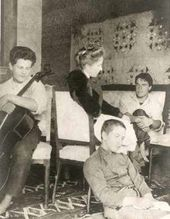 Olga Serova with her sons. From left: Georgy, Mikhail and Alexander. Moscow. 1910s