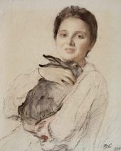 Valentin Serov. Portrait of Cleopatra Obninskaya with a Rabbit. 1904