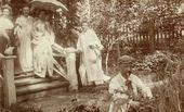 Summer in Bugry. From left: Cleopatra Obninskaya, N. Sapozhnikova, Anna Troyanovskaya, A. Troyanovskaya, Ivan Troyanovsky. 1906