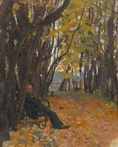 Vladimir Derviz on a Park Bench. 1892–1893