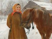In a Village. A Peasant Woman with a Horse. 1898