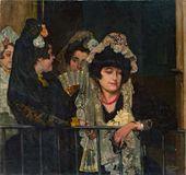 IGNACIO ZULOAGA. A Spanish Woman in a Box at the Plaza de Torres. 1901
