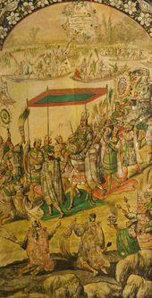Juan González and Miguel González. Reception of Moctezuma. From the series of the Conquest of Mexico. 1698. © Ministerio de Educación, Cultura y Deporte, España
