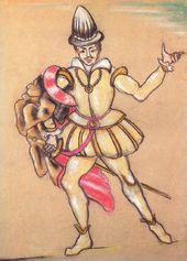 Boris Ferdinandov. Sketch of the costume design for Don Carlos for The Stone Guest. Mollanepes State Drama Theatre. Ashgabat, Turkmenistan. 1937