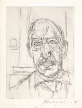 Alberto Giacometti. Portrait of Iliazd. Frontispiece for Iliazd's Sentence sans Paroles. 1961