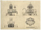 Alexei Shchusev. Draft design of the Church of St. Alexius in Tsarskoye Selo. South and west façades, cross section with indicated iconostasis, draft. 1913