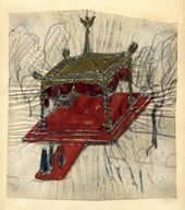 Alexei Shchusev. Sketch of ciborium (baldachin) for the foundation stone ceremony in Tsarskoye Selo for the Church of St. Alexius. 1914