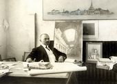 Alexei Shchusev in the design studio of the Kazan Railway Station. 1914–1915
