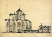 Alexei Shchusev. Competition design for the Cathedral of the Holy Trinity in Petrograd. South façade. 1915