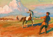 Illustration to 'Kholstomer' by Leo Tolstoy. 'Kholstomer Is Taken from the Herd'. 1953–1954