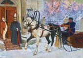Illustration to 'Kholstomer' by Leo Tolstoy. 'Prince Serpukhovskoy's Horse-carriage'. 1953–1954