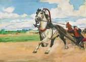Illustration to 'Kholstomer' by Leo Tolstoy. 'Kholstomer Passes Swan'. 1953–1954