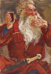 Illustration to 'The Cossacks' by Leo Tolstoy. 'Uncle Yeroshka'. 1952