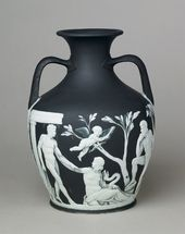 Copy of the Portland vase in black jasper with white relief decoration. c. 1790. © National Museums Liverpool/Lady Lever Art Gallery