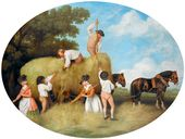 George Stubbs. Painted enamel hay-making scene on an earthenware plaque. 1795. © National Museums Liverpool/Lady Lever Art Gallery