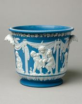 Bottle-cooler in blue jasper with white relief decoration. 1780-1800. © National Museums Liverpool/ Lady Lever Art Gallery