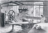 Potter and porcelain manufacturer Josiah Wedgwood at work in a primitive workshop throwing a pot. A large wheel is being turned by a woman assistant